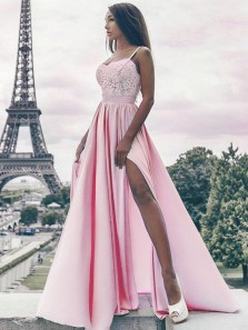 Charming A-Line Spaghetti Straps Sweetheart Open Back Pink Satin Long Prom Dresses with Appliques,Evening Party Dresses