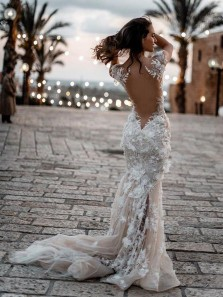 Gorgeous Mermaid Sweetheart Lace Wedding Dresses with Train