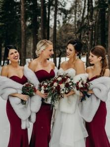 Sexy Mermaid Sweetheart Dark Red Elastic Satin Long Bridesmaid Dresses