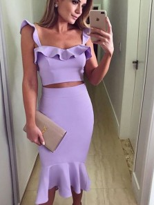 Chic Two Piece Bodycon Sweetheart Lilac Elastic Satin Ruffle Evening Party Dress,Wedding Guest Dress