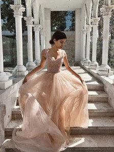 Exquisite A-Line Sweetheart Open Back Blush Chiffon Long Prom Dresses with Beading
