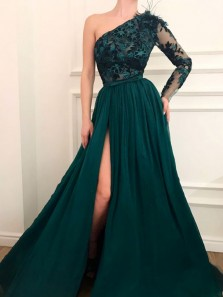 A-Line One Shoulder Open Back Long Sleeve Hunter Green Tulle Long Prom Dresses with Appliques,Evening Party Dresses