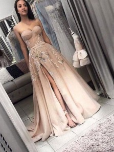 A-Line Sweetheart Open Back Champagne Satin Long Prom Dresses with Appliques,Evening Party Dresses