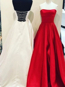Simple A-Line Strapless Red Satin Long Prom Dresses with Pockets,Cross Back White Evening Party Dresses