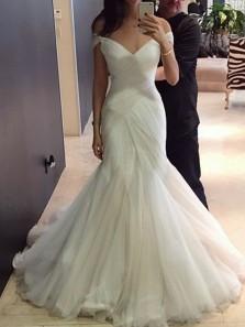 Elegant Mermaid Off the Shoulder Open Back White Tulle Wedding Dresses