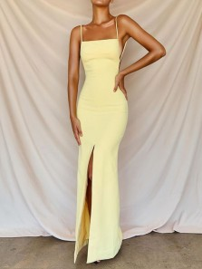 Fashion Mermaid Square Neck Spaghetti Straps Daffodil Elastic Satin Long Prom Dresses,Formal Evening Party Dress