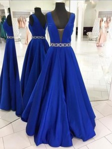 Stylish A-Line V Neck Open Back Royalblue Satin Long Prom Dresses with Beading,Evening Party Dresses