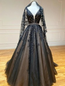 Gorgeous A-Line V Neck Open Back Black Tulle Long Prom Dresses with Appliques Beading