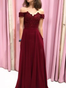 Classy A-Line Off the Shoulder Open Back Burgundy Chiffon Long Prom Dresses with Appliques Beaded,Evening Party Dresses