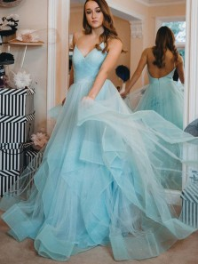 Gorgeous A-Line V Neck Spaghetti Straps Backless Lake Blue Tulle Long Prom Dresses,Formal Party Gown