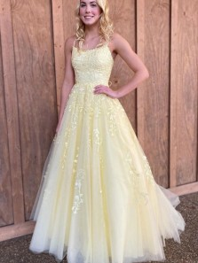 Pretty A-Line Scoop Neck Cross Back Daffodil Tulle Lace Formal Prom Dresses