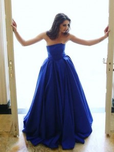 Unique A-Line Strapless Royal Blue Satin Long Prom Dresses with Pockets Formal Evening Party Dresses