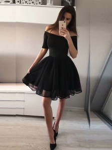 Cheap A-Line Off the Shoulder Half Sleeve Black Short Homecoming Dresses,Little Black Dresses Under 100,Short Prom Dresses