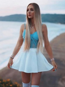 Cute A-Line V Neck Spaghetti Straps White and Lake Blue Lace Short Homecoming Dresses
