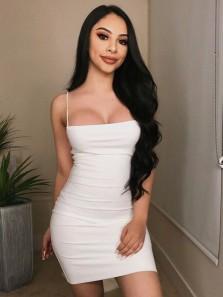 Sexy Bodycon Spaghetti Straps Open Back White Elastic Satin Mini Cocktail Party Dresses
