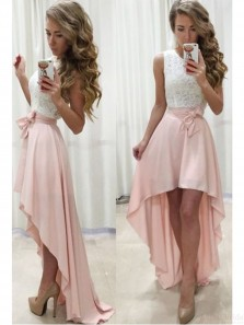 Sweet 16 White and Pink Lace Homecoming Dress Grad Dress