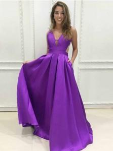 Elegant A-Line V Neck Backless Violet Satin Long Prom Dresses with Pockets,Formal Party Dresses