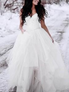 Unique A-Line Spaghetti Straps Open Back White Tulle Wedding Dresses with Lace