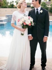 Elegant A-Line Round Neck Half Sleeve White Chiffon Wedding Dresses,Lace Wedding Gown