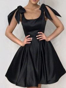 Cute A-Line Square Neck Black Satin Short Homecoming Dresses with Pockets,Cocktail Party Dresses