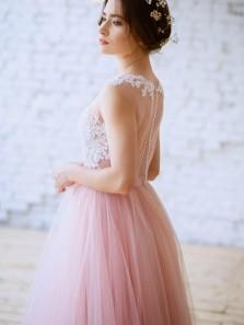 Unique A-Line Jewel Pink Tulle White Lace Long Wedding Dresses