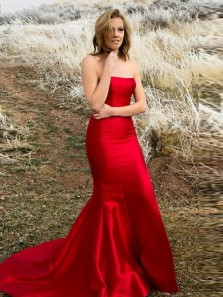 Modest Mermaid Strapless Open Back Burgundy Satin Long Prom Dresses with Split,Evening Party Dresses