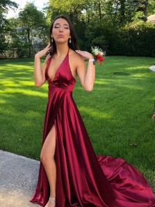 Sexy A-Line Deep V Neck Backless Dark Red Satin Long Prom Dresses with Split,Formal Prom Gown