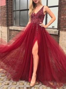 Elegant A-Line V Neck Beaded Open Back Burgundy Tulle Long Prom Dresses with Side Slit,Evening Party Dresses
