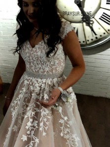 Charming A-Line V Neck Champagne Long Prom Dresses with White Appliques,Formal Party Dresses,Quinceanera Dresses,Sweet 16 Party Dresses