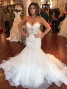 Mermaid Sweetheart White Tulle Lace Wedding Dresses