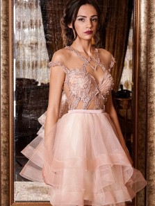 Fashion Round Neck Pink Tulle Cap Sleeve Short Homecoming Dresses with Appliques,Charming Cocktail Party Dresses DG9012007
