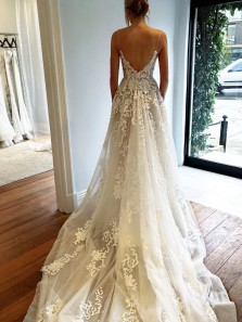Gorgeous Straps A-line White Long Wedding Dress with Court Train