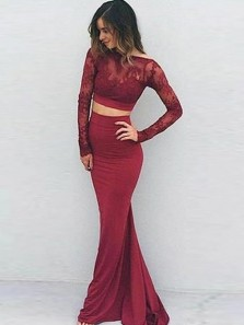 Modest Two Piece Boat Neck Open Back Long Sleeve Burgundy Elastic Satin Mermaid Prom Dresses with Lace