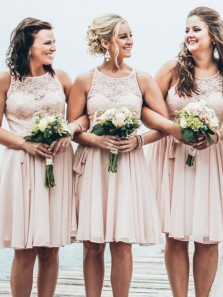Cute A-Line Round Neck Open Back Peach Chiffon Short Bridesmaid Dresses with Lace
