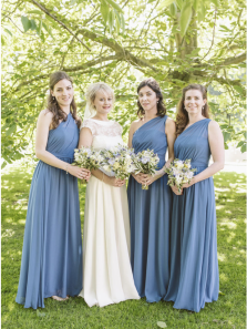 A-Line One Shoulder Dusty Blue Chiffon Long Bridesmaid Dresses Under 100