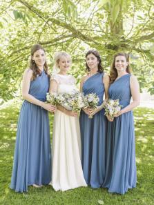 A-Line One Shoulder Dusty Blue Chiffon Long Bridesmaid Dresses Under 100
