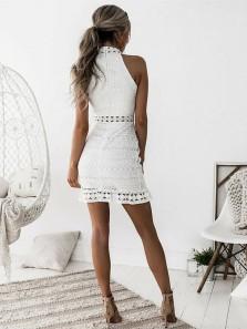 Bodycon Halter White Lace Short Mini Cocktail Party Dresses,Evening Party Dresses,White Hoco Dresses 190719007