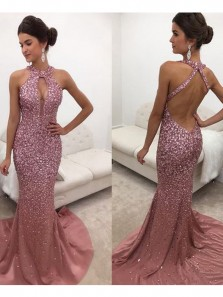 Stunning Mermaid Halter Cross Back Champagne Blush Satin Long Prom Dresses with Beading,Formal Party Dresses
