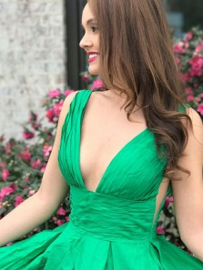 Modest A-Line Deep V Neck Backless Green Satin Long Prom Dresses with Pockets,Formal Party Dresses