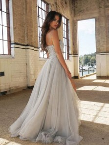 Modest A-Line Spaghetti Straps Open Back Light Grey Tulle Long Prom Dresses with Beading,Charming Formal Party Dresses