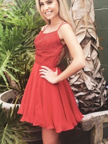 Cute A-Line Scoop Neck Cross Back Red Chiffon Short Prom Dresses,Beaded Homecoming Dresses,Evening Party Dresses
