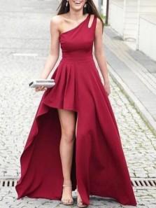 Elegant A-Line One Shoulder Dark Red Satin High Low Prom Evening Dresses,Formal Party Dresses