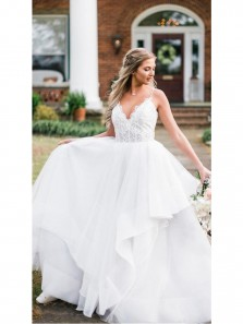 Gorgeous Spaghetti Straps V Neck White Tulle Wedding Dresses,Lace Wedding Gown DG0918007