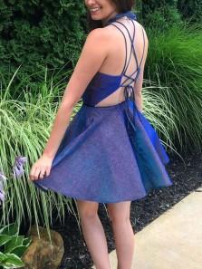 Shining A-Line Halter Criss Cross Back Royal Blue Satin Short Prom Dresses with Pockets,Short Homecoming Dresses