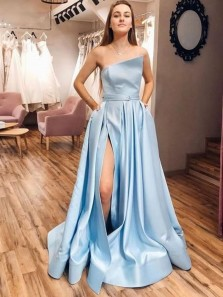 Unique A-Line Strapless Sky Blue Stain Long Prom Dresses with Slit Pockets,Formal Party Dresses