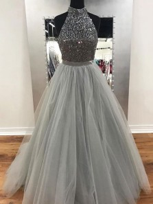 Luxurious A-Line Halter Open Back Grey Tulle Long Prom Dresses with Beading,Formal Party Dresses