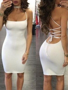 Sexy Body con Scoop Neck Criss Cross Back Ivory Elastic Satin Short Prom Party Dresses Under 100,Evening party Dresses Cheap