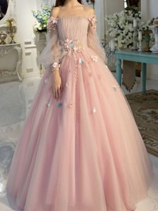 Princess Ball Gown Off the Shoulder Long Sleeve Pink Tulle Long Prom Dresses,Girls Junior Graduation Gown