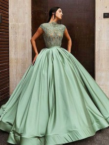 Ball Gown High Neck Cap Sleeve Mint Satin Lace Long Prom Dresses,Sweet 16 Party Dresses,Quinceanera Dresses