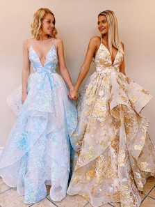 Chic Ball Gown Deep V Neck Open Back Blue Organza Long Prom Dresses,Formal Evening Party Dresses,Sweet 16 Party Dresses